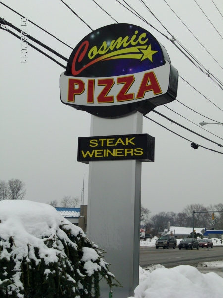cosmic pizza pylon sign