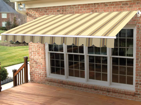 stripe retractable awning