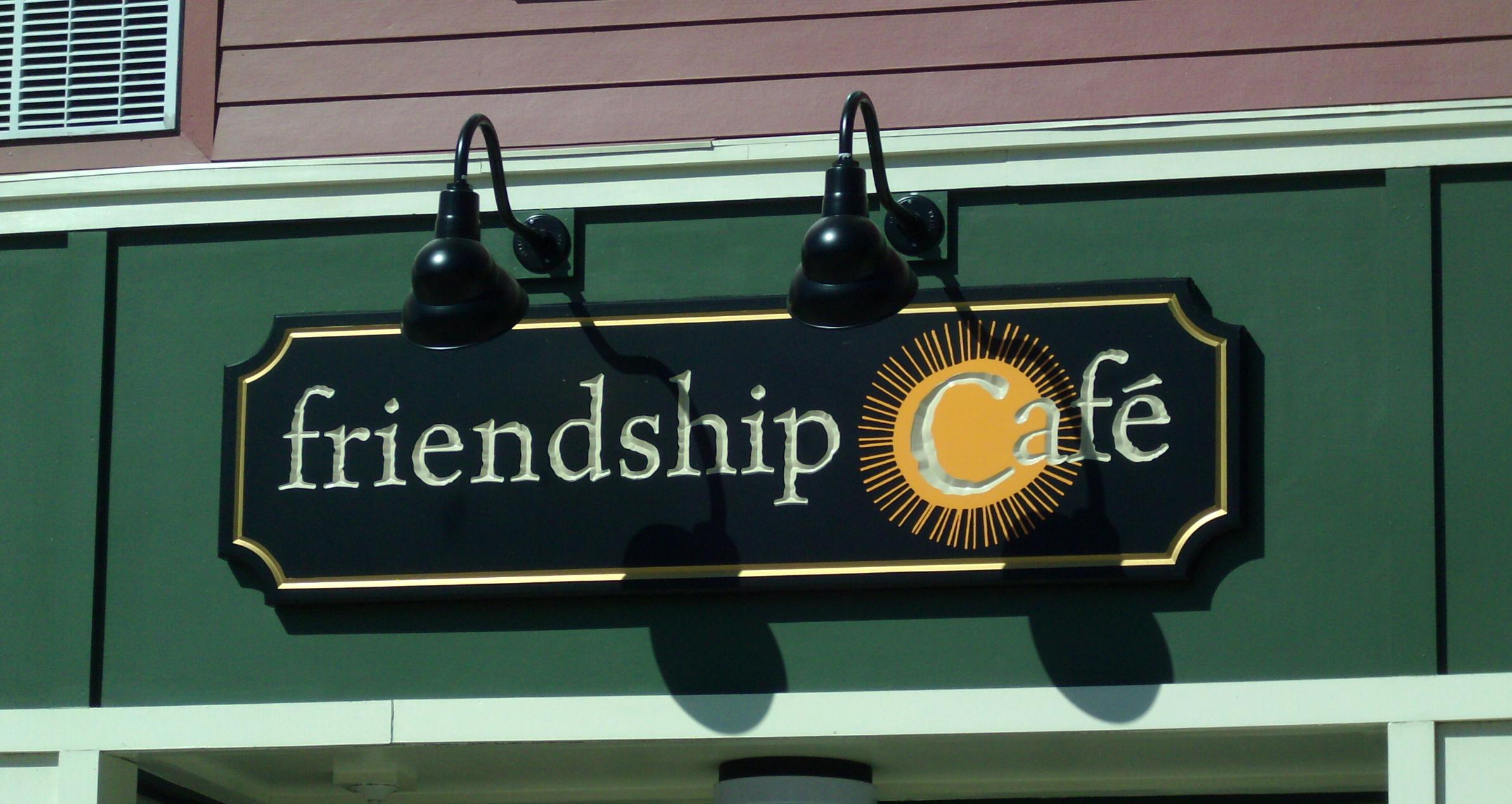 Carved Sign for Friendship Cafe