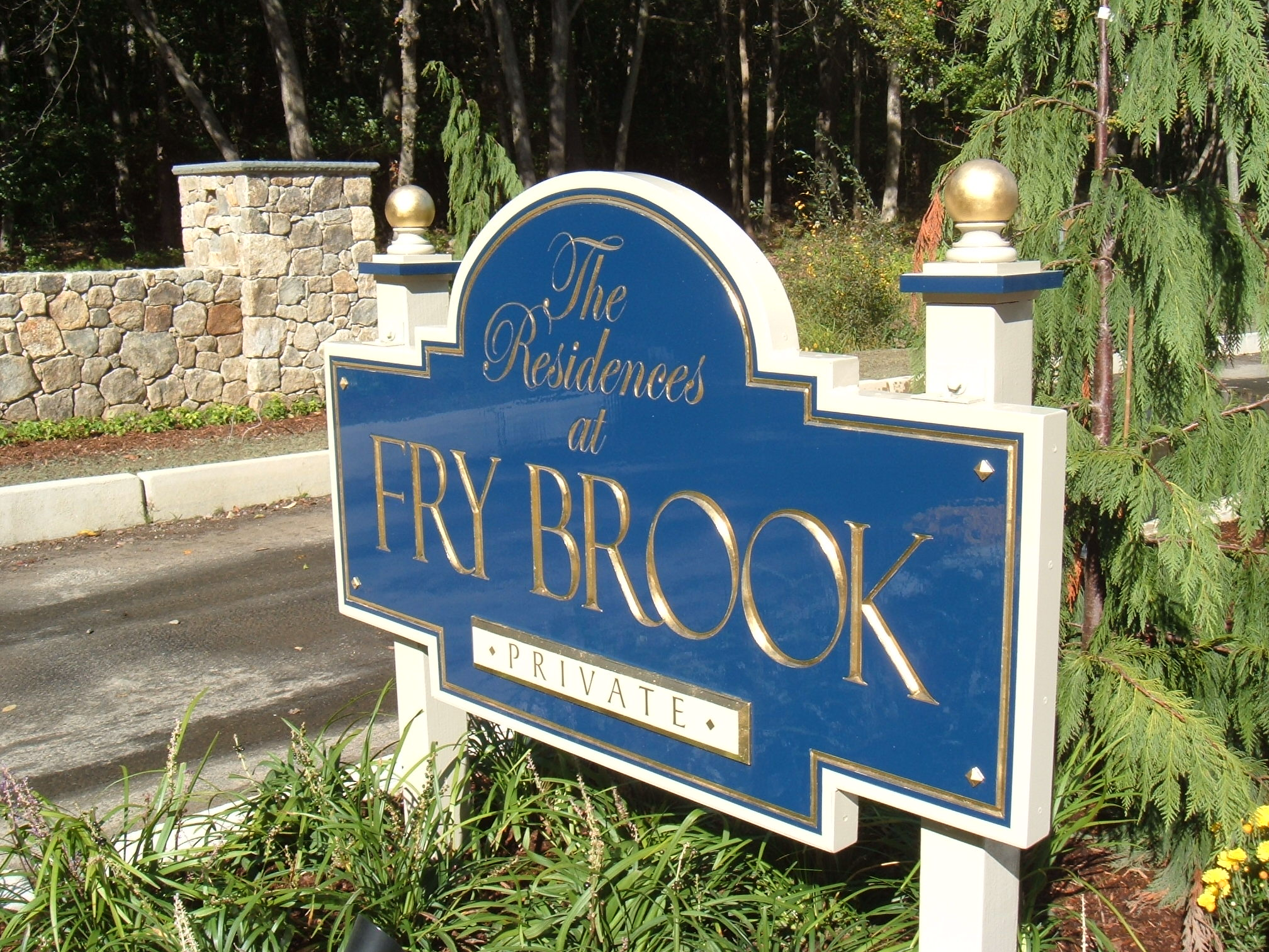 Fry brook carved sign