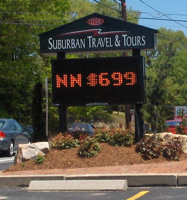 suburban travel digital display signange